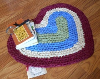 Heart Shaped Recycled Rag Rug Toothbrush Amish Knot