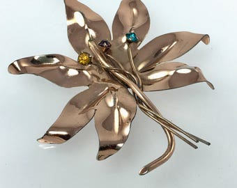 Maple Leaf Pin, Gold Vermeil, Sterling Silver Brooch, Large Statement Jewelry, Maple Leaf, 1950's Jewelry, Costume Jewelry, Ready to Ship