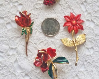 Vintage, Lot of 4, Red, Flower Pins, Brooches, Flower Power, 1970's Jewelry, Pins