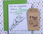 Letterpress Greeting Card with Gift Card Holder - Marmoset with a Monocle Birthday Anniversary Gifts for Him /Gifts for Her