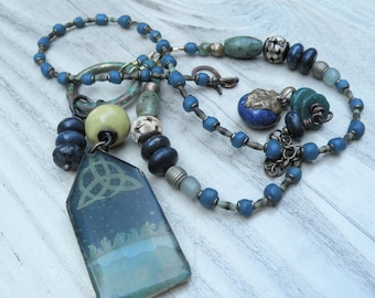 Sacred Geometry Necklace - Asymmetrical Blue and Green Beaded Pendant Necklace - One of a Kind - Eclectic