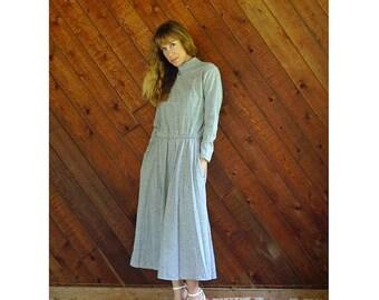20% off SUMMER SALE. . . Marled Grey Hi Neck l/s Midi Dress - Vintage 80s - S/M