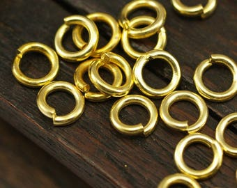6mm Jump Ring - 250 Golden Brass Jump Rings (6x1.2mm) A0077