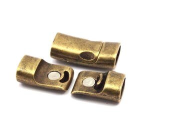 Leather Cord Clasp, 6 Antique Brass Magnetic Clasp For Leather Cord (26x13mm) Y308