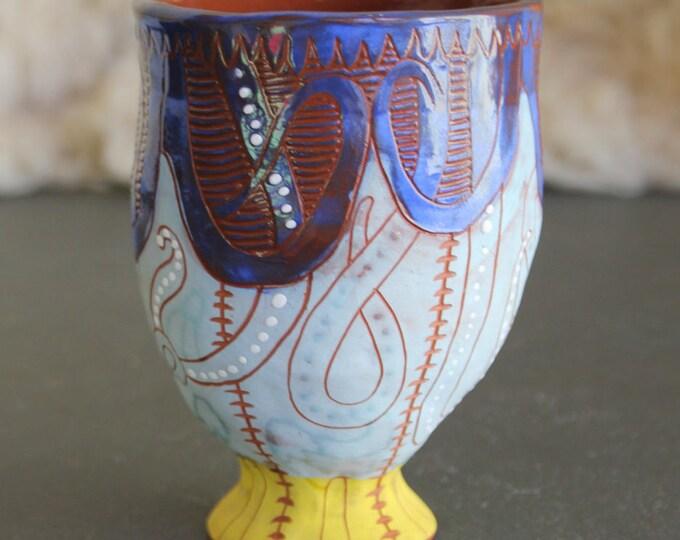 Ceramic tumbler, jellyfish design, unique handpainted pottery