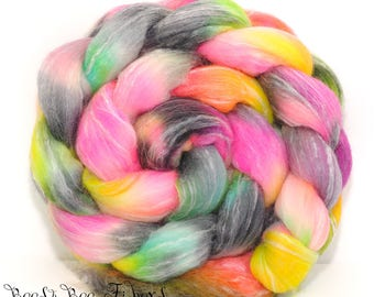 ABSTRAC #1 - Seawool Merino Seacell Hand Dyed Wool Roving Combed Top Spinning Felting Weaving - 4.3 oz