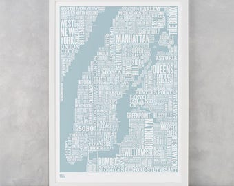 New York City Type Map Screen Print, New York City Type Map, New York City Wall Art, New York City Wall Poster, NYC Word Map, NYC Wall Print