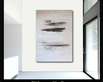 Extra large 60x45 original abstract painting on canvas by Elsisy  Brown Black white.  Free US shipping