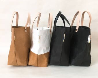 Tote Bag Small : Tyvek and Kraft paper tote bag/market bag/handbags/lunch bag/washable bag and eco friendly