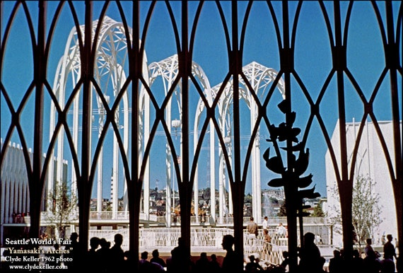 Seattle World's Fair, YAMASAKI'S ARCHES, Clyde Keller photo, 1962