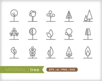 Minimal tree line icons | EPS AI PNG | Geometric Plant Clipart Design Elements Digital Download