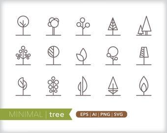 Minimal tree line icons | EPS AI PNG | Geometric Plant Clipart Design Elements Digital Download