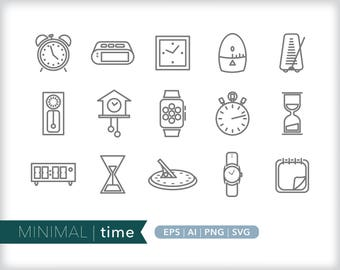 Minimal time line icons | EPS AI PNG | Geometric Clock Clipart Design Elements Digital Download