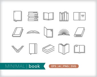 Minimal book line icons | EPS AI PNG | Geometric School Clipart Design Elements Digital Download