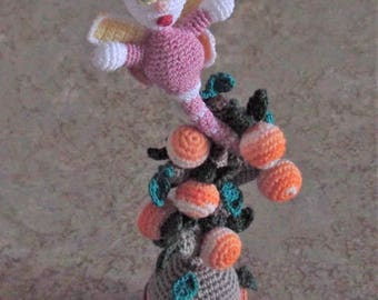 Bonnie's OOAK Crochet Cotton Thread Item Potted Tree of 8 Clementines Topped/W  Lady Dragonfly w/ Curly Cue (Not a Toy