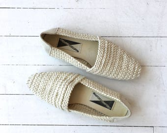 Cotton Rope flats   vintage woven cotton slip on shoes   cream cotton 80s loafers 9