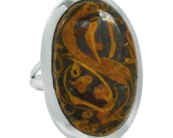 Calligraphy Stone Sterling Silver Oval Ring in Size 6.5