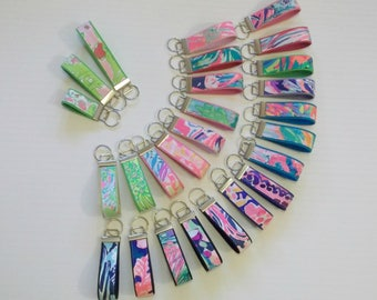 Preppy Colorful Lilly Fabric Key Chain Key Fob 3 Sizes