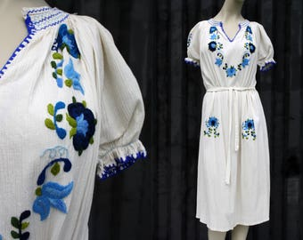 Vintage Blue and Cream Colored Floral Print Embroidered Short Sleeve Belted Woman's Retro Dress