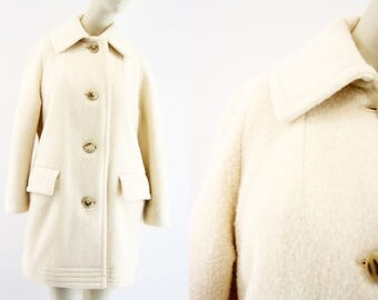 Hudson Bay Company / Vintage / Cream Colored / Heavy / 100% Wool / Woman's / Retro / Jacket / Coat / Outerwear
