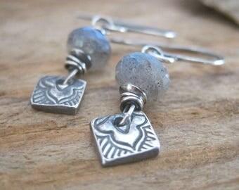 Labradorite Fine Silver Earrings, Gemstone Metal Clay Dangle, Handmade Jewelry, Labradorite Dangle Earrings