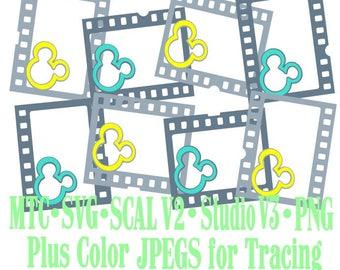 Filmstrip Frames Boy & Girl Mouse Head Design #02 Amusement Park Embellishments Cut Files MTC SVG SCAL and more File Format