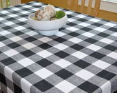 """Reserved for Marie - 50""""W x 110""""L Black Buffalo Check Tablecloth Premier Prints Anderson Black White Large Checker"""