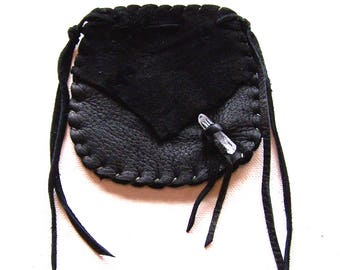 Beautiful Deerskin Medicine Bag ..BLACK