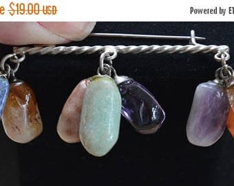 On sale Semi-Precious Nugget Dangle Bar Brooch, Multi-colored, Vintage, Amethyst, Agate, Citrine, Sodalite (AL17)