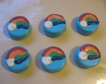 One dozen rainbow chocolate covered oreo sandwich cookies