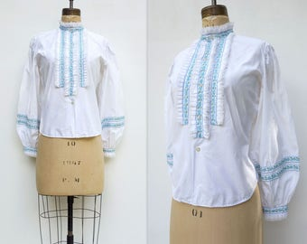 1960s Peasant Blouse High Collar Blouse Vintage Peasant Top White Lace Blouse Embroidered Blouse Bishop Sleeve Blouse Boho White Blouse m