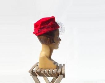 sale 1950s Vintage Hat Veiled Hat Red Velvet Hat 50s Pillbox Hat 50s Veiled Hat