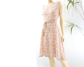 90s Floral Dress Blush Pink Dress Floral Midi Dress Vintage 90s Dress Vintage Summer Dress Fit and Flare Dress L