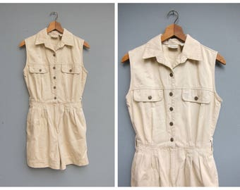 Vintage Khaki Romper Cotton Safari Jumpsuit Shorteralls Summer One Piece Shorts Playsuit Button Front Coveralls Womens Small Medium