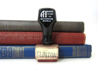 Small Vintage Rubber Stamp CLINTON Stamper Wooden Handle Scrapbooking Office Book Shelf Decor
