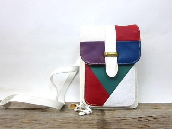 90s Leather Colorblock Purse Vintage Crossbody Wallet Purse Shoulder Bag Long Strap Women's Preppy Purse Red Purple Green White Color Block