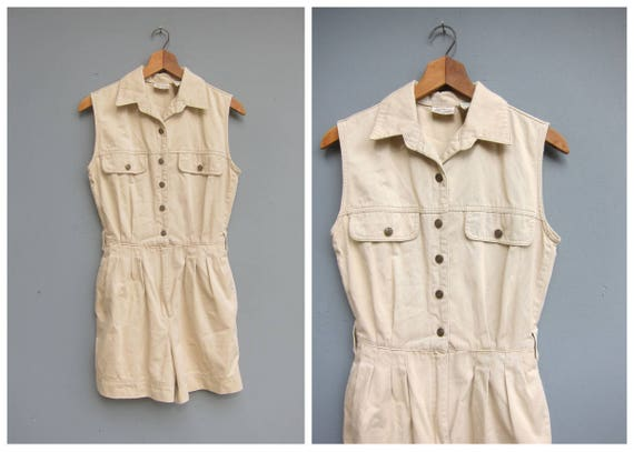 Vintage Khaki Romper Cotton Safari Jumpsuit Shorteralls Summer One Piece Shorts Playsuit Button Front Coveralls Womens Small Medium