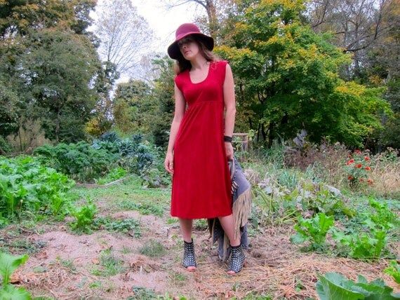 70s Red Dress Midi Baby Doll Dress Long Festival Gypsy Sundress Empire Waist Hippie Dress Fall Boho Dress Scoop Neck Peasant Dress XS Small