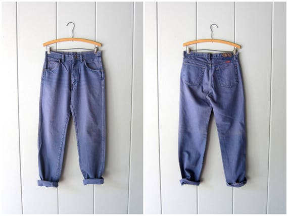 """80s Boyfriend Jeans Purple Jeans Straight Leg Pigment Dyed Wrangler Jeans DISTRESSED Vintage Grunge Mom Jeans Hipster Womens 30"""" Waist"""