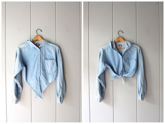 Vintage TIE WAIST cropped denim shirt 80s Button Up HOODED Jean Shirt Crop Top Light Blue Wash denim shirt Hoodie Denim Shirt Womens Small
