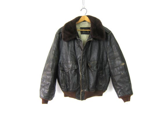 Dark Brown Leather Bomber Coat Aviator Biker Jacket Sherpa Lined Motorcycle Jacket Furry Collar Vintage Flight Jacket GS Mens Size 45