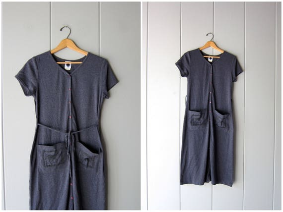 90s Grey Cotton Shirt Dress Basic Long Pocket Dress ZEBRAS Button Down Tshirt Gray Safari Dress Vintage Womens size 10 Medium