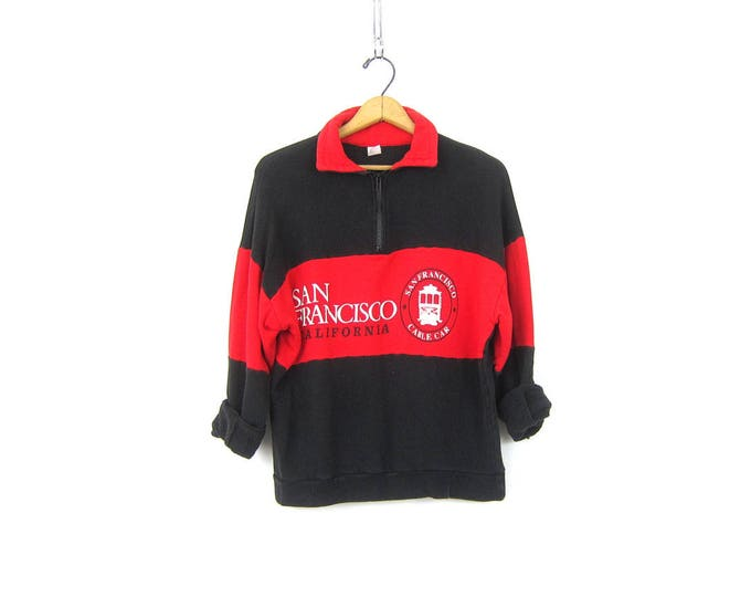 vintage San Francisco Cable Car sweatshirt 80s California Zipper Collar Top ATHLETICS Tourist Souvenir Sweater Red and Black Sweater Medium