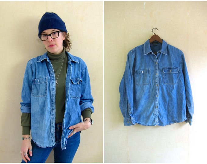 Faded 90s Jean Shirt Oversized Denim Shirt Worn In Button Up Shirt Distressed Bleached Jean Shirt Vintage Slouchy Oxford Shirt Womens Large