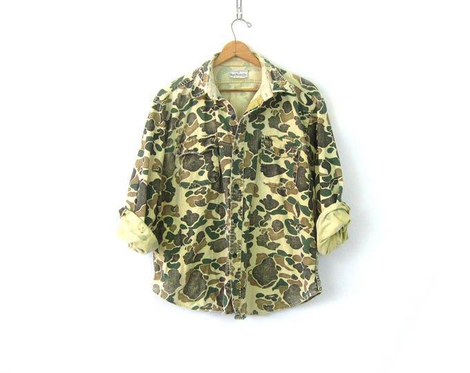Distressed CAMO Shirt Rugged Vintage Flannel Boyfriend Shirt Green Camouflage Fatigues Grunge Punk Men's Size XL