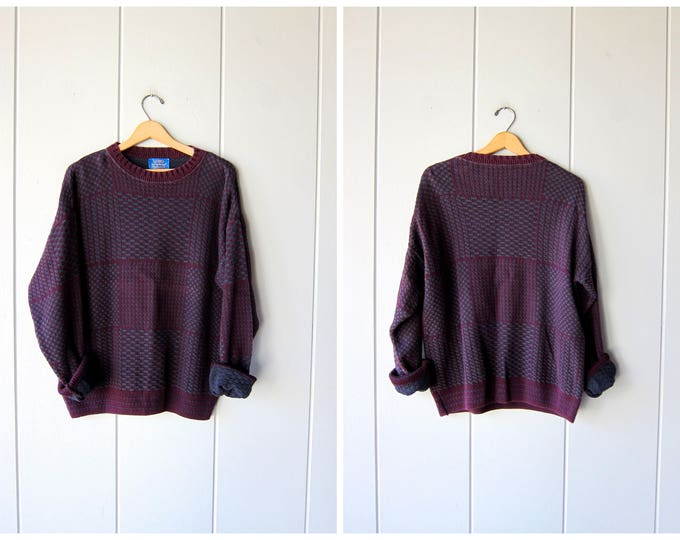 Purple Sweater Pendleton 90s Knit Sweater Oversized Cotton Sweater Peppy Slouchy 1990s Pullover Vintage Boyfriend Sweater Mens Size Large
