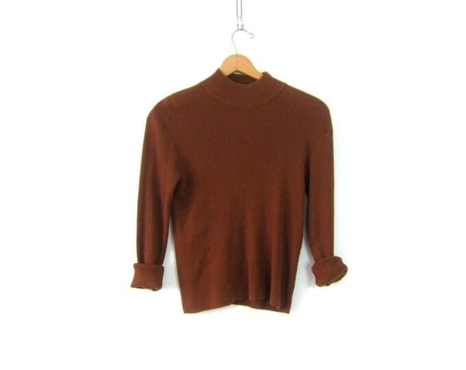 Copper Brown Ribbed Shirt 90s Mock Neck Top Rib Knit Shirt Silk Blend Thermal Shirt Minimal Long Sleeve Thin Sweater Shirt Womens Large