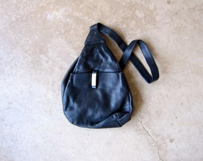 Black Leather Backpack 90s Rucksack One Strap Shoulder Bag Purse Hipster Revival 1990s School College Pack Leather Slouchy Knapsack