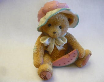 Cherished Teddies, Julie, July 1993, Enesco, Priscilla Hillman, Registered, No Box, Excellent Condition, Teddy Bear Figurines, Vintage Teddy