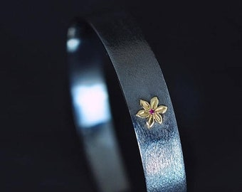 SPRING SALE Sterling Silver Bracelet with 14K Gold Flower & Ruby - Les Fleurs no. 9 Bracelet